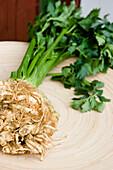 Close up of celeriac, Home-grown, Kitchen garden