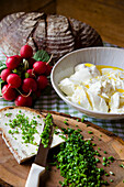 Slice of bread with cream cheese and chives, Open sandwich, homemade, Bavaria, Germany