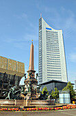 City skyscraper with Gewandhaus and fountain at the Augustusplatz, Leipzig, Saxony, Germany, Europe