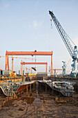 Insight into the dry-docks of the largest shipyard in the world in Ulsan, South Korea, Asia
