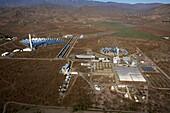 Aerial photo PSA, Plataforma Solar de Almeria, center for the research of solar energy by the DLR, German Aerospace Center, Almeria, Andalusia, Spain