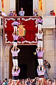 Colla Jove Xiquets de Tarragona ´Castellers´ building human tower, a Catalan tradition Festa de Santa Tecla, city festival  Plaça de la Font Tarragona, Spain