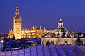 Top of Metropol Parasol and the cathedral,from Plaza de la Encarnación,Sevilla,Andalucía,Spain