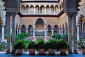 Royal Alcazar,`Patio de las Doncellas´,Courtyard of the maidens,Seville, Andalusia, Spain