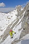 Mark Weber climbing the Vertical Perceptions Couloir on the North Face of Cobb Peak in the Pioneer Mountians of central Idaho