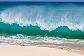 HUGE waves breaking on the beach at Ascension Island in the Tropical Atlantic Ocean. HUGE waves breaking on the beach at Ascension Island in the Tropical Atlantic Ocean  MORE INFO Ascension Island is a remote volcanic island in the tropical waters of the
