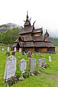 Views from Borgund stave church built around A D  1180 in Borgund, Norway