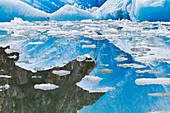 Glacial iceberg detail reflected in calm water from ice calved off the South Sawyer Glacier in Tracy Arm, Southeast Alaska, USA, Pacific Ocean