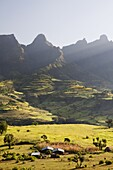 Landscape near the escarpment of the Simien Mountains close to the Simien Mts  National Park near the village of Mekarebya at an elevation of about 2300m during the end of the rainy season  This area is heavily used for farming especially the cultivation.