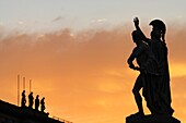 The Unter Den Linden statues by sunset, Berlin, Germany