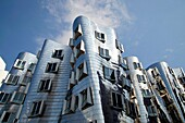 The Neue Zollhof The New Zollhof, landmark with buildings designed by American architect Frank O  Gehry of Media Harbor in Duesseldorf, Germany, Europe