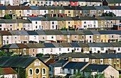 Tredegar town village coal mining community terraced houses and Bethel Baptist Church, Gwent, south Wales, UK