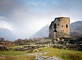 Mediaeval Dolbadarn Castle, Gwynedd, Wales, UK  Looking SE up the valley of Nant Beris to Llanberis Pass