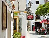 Outdoor bar with people, Tarifa, Costa de la Luz, Andalucia, Spain