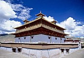 The Samye Monastery or Samye Gompa is the first Buddhist monastery built in Tibet, was most probably first constructed between 775 and 779 CE under the patronage of King Trisong Detsen of Tibet who sought to revitalize Buddhism, which had declined since i