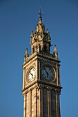 The Albert Memorial Clock tower in Queens Square, Belfast, Northern Ireland, UK  The tower was built on wooden piles in marshy land around the farset river and leans off the vertical as a result  Restoration work in 2002 halted the lean and cleaned up the