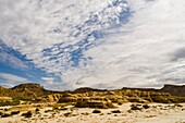 Geological formations and landscape in Bardenas Reales Nature park  Navarre  Spain