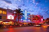 Art Deco Neon lit historic buildings, Ocean Drive, Miami South Beach, Florida