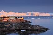 Town of Ilulissat at dawn, Disko Bay, Jakobshavn Glacier, Icefjord, Greenland