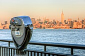 The view of Manhattan in New York City across the Hudson River from Liberty State Park in Jersey City, New Jersey, USA