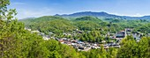 Looking down on Gatlinburg Tennessee from top of Gatlinburg Sky Lift on Crockett Mountain