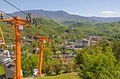 Looking down on Gatlinburg Tennessee from top of Gatlinburg Sky Lift on Crockett Mountain
