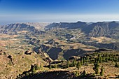 Canary Islands, Gran Canaria, Central Mountains, View of South Gran Canaria with Fataga and St  Bartholomey Village