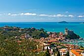 Lerici Castle and the Gulf of La Spezia, Province of La Spezia, Liguria, Italy, Europe