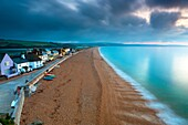 View along sandy beach in Torcross, South Devon, England, UK, Europe