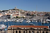 View of the Old Port Vieux Port Harbour or Harbor Marseille or Marseilles France