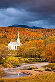 Autumn view of the Community Church in Stowe, Vermont, USA