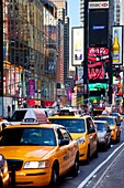 Vehicles line up on Broadway at Times Square in Manhattan, New York City USA