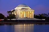 View of the Jefferson Memorial across the Tidal Basin just before dawn in Washington DC USA