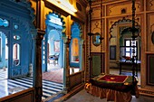 Beautilful vivid colours inside the magnificent City Palace of Udaipur, Rajasthan, India.