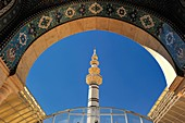 Sayyida Ruqayya Mosque  Damascus, Syria  It was designed very much in the modern Persian style  While the portico, courtyard and main 'onion' dome are relatively restrained and quite beautiful, the interior of the prayer hall is a riot of mirror mosaics