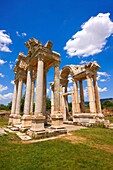 Picture of the double Tetrapylon Gate 2, Aphrodisias, Turkey  A tetrapylon Greek: etp, ´four gates´ is an ancient type of Roman monument of cubic shape, with a gate on each of the four sides: generally it was built on a crossroads  stock photos & photo ar