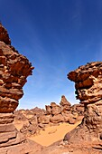 Natural rock formations in the Akakus Mountains, Sahara Desert, Libya