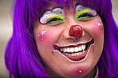 A female clown smiles during the 16th International Clown Convention: The Laughter Fair organized by the Latino Clown Brotherhood, in Mexico City, October 17, 2011