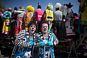 Twin clowns pose for a picture during the 16th International Clown Convention: The Laughter Fair organized by the Latino Clown Brotherhood, in Mexico City, October 17, 2011