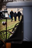 Amish men inspect horse buggies ready for auction during the Annual Mud Sale to support the Fire Department in Gordonville, PA