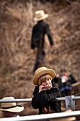 Amish boy during the Annual Mud Sale to support the Fire Department in Gordonville, PA