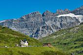Klausenpass road with Hotel Passhöhe, Glarner Alps, Uri, Switzerland, Europe