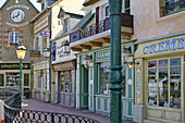 Old-Fashioned Street Decor With Pre-War Storefronts, Maison Du Biscuit, Sortosville-En-Beaumont, Manche (50), France