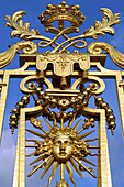Detail Of The Royal Gate In Gold Leaf Made By Hardouin-Mansart, / Palace Of Versailles, Built In The 17Th Century For Louis Xiv, The Sun King, Yvelines (78), Ile-De-France, France
