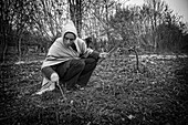 Lorelei Preparing To Plant Osier To Make Baskets, She Left Everything Behind To Come Build And Live In Her Wood Cabin In The Creuse, France