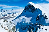 Europe, Switzerland, Alps mountains, Valais Province (VS), the Paradise Glacier Matterhorn Station looking over the Cervin Mount (4478 m)