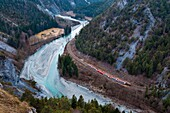 'Europe, Switzerland, Alpes mountains, Grisons Province (GR), Albulaline listed on the Unesco World heritage in 2008, the Rhine Valley, the Glacier Express train goes through the Rhine gorges named ''The Littel Grand Canyon'' because of its dizzy cliffs'