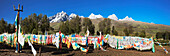 Repotacha, a Meditation Retreat, and Buddhist sacred place. Road between Ganzi and Manigango lined with prayer flags.