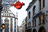 Hard Rock Cafe and Hofbraeuhaus at Platzl in winter, Munich, Upper Bavaria, Bavaria, Germany