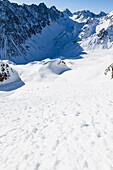 Backcountry skiers at Hohe Gruben underneath avalanche cone, ascending Schoentalspitz, overlooking Vorderer und Hinterer Brunnenkogl, Schrankogl, Bachfallenkopf, in the shade Laengentaler Ferner, Sellrain, Innsbruck, Tyrol, Austria